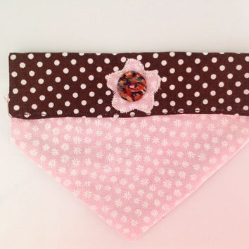 Pink Floral & Brown Polka Dot  Over The Collar Reversible Girl Dog or Cat Bandana