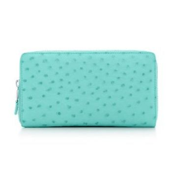 Tiffany & Co. -  Zip continental wallet in Tiffany Blue® ostrich. More colors available.