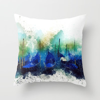 Venice Gondola painting Throw Pillow by Claude Gariepy