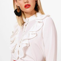Georgia Ruffle Flare Cuff High Neck Blouse | Boohoo