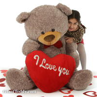 "Fluffy Mocha Valentine's Day Teddy Bear with red ""I Love You"" heart and bowtie in 4 sizes"