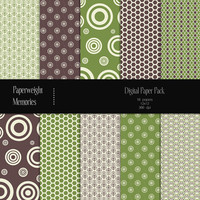 "Digital Papers - Moss & Bark - digital scrapbooking - brown and green patterned paper - 12x12"" 300dpi  - Commercial Use"