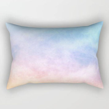 Rainbow Pastel Watercolor Tie Dye Rectangular Throw Pillow, Light Pink Throw Pillow, Colorful Bedroom Decor, Pink Watercolor Nursery Pillow
