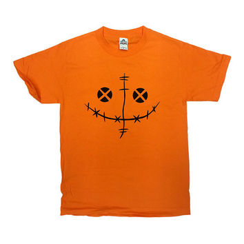 Scary Pumpkin Shirt Halloween TShirt Halloween Costume Scary Pumpkin Face T-Shirt Funny Horror Scary Mens Ladies Unisex Tee - SA421