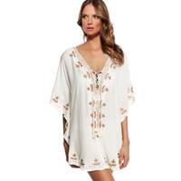 White Embroidery Bikini Beach Cover Up Beach Wear