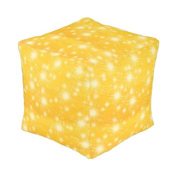 Shining stars on a golden background cube pouf