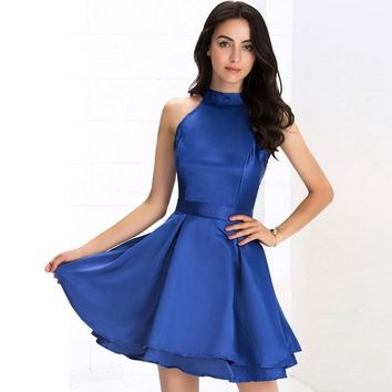Leah Mini Skater Dress - Blue