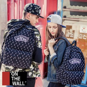 VansFashion Personality printing large capacity backpack bag leisure travel boom Black lightning 7 style