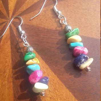Multicolor stone bead and silver chip earrings
