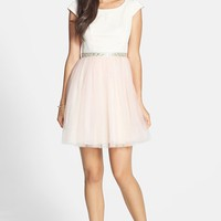 a. drea Embellished Two-Tone Fit & Flare Dress (Juniors)