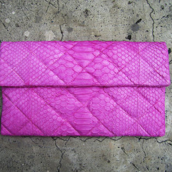 OVERSIZE - Quilted Soft Pink Fold Over Python Snakeskin Leather Clutch