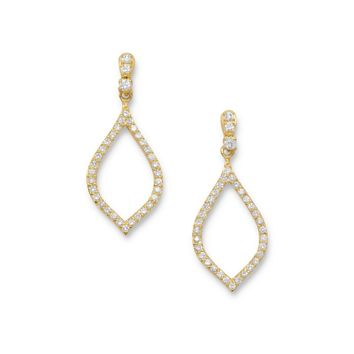 14 Karat Gold Plated CZ Marquise Drop Earrings