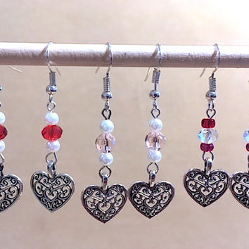 Silver Filigree Heart Beaded Dangle Earrings, Handmade Original Fashion Jewelry, Romantic Valentine's Day Jewelry, Simple Ladies Gift Idea