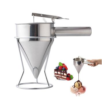 1.2L Capacity Stainless Steel Funnel Small Octopus Balls Tools With Rack Cupcakes Baking Dispenser Kitchen Utensils Funnel Tool