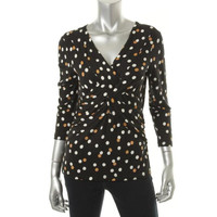 Cable & Gauge Womens Polka Dot 3/4 Sleeves Casual Top