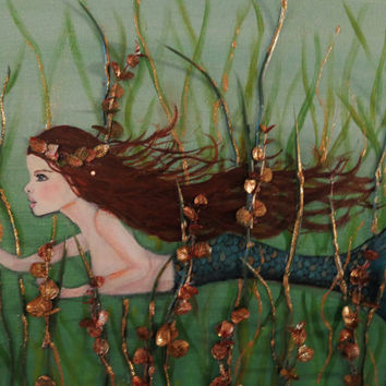 Mermaid Art- Original Coastal Collage-Acrylic Painting- Mixed Media Beach Wall Decor-16X20 inches