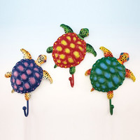 "Set of 3 Metal Towel Hooks - Sea Turtle Design - Overall Hook Is 8"" X 6.5"""