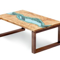 river coffee table by Greg Klassen Furniture Maker