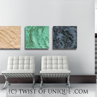 Concrete Wall art / 3 square ORIGINAL (15 inch square) / Industrial Abstract painting/ AcryliCrete / Concrete/  Gray, Green, Ivory