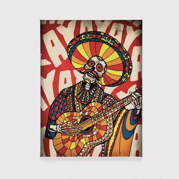 Mariachi Canvas Print, Mexican Sugar Skull Wall Art, Colorful Skull Stretched Canvas Home Decor