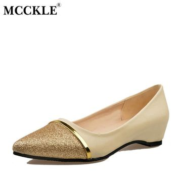 MCCKLE Female Fashion Bling Sequined Slip On Pointed Toe Autumn Increased Internal Sexy Office Party Pumps Woman Style Shoes