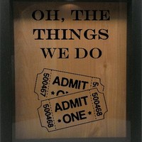"Wooden Shadow Box Wine Cork/Bottle Cap Holder 9""x11"" - Oh The Things We Do with Tickets"