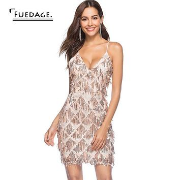 Fuedage Sexy Sequin Bodycon Dress women Night Club Part Spaghetti Strap Summer Dress Deep V Backless Party Dresses Vestidos 2018
