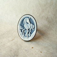 Cameo Unicorn Ring. Blue and White Cameo Ring. Romantic Vintage Jewelry. Adjustable Ring Large Cocktail Ring, Resin Jewelry.
