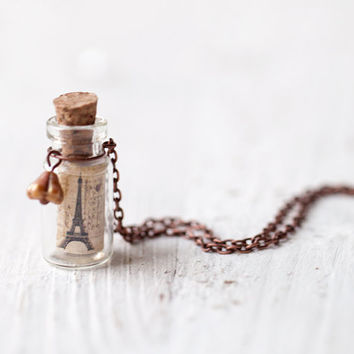 Paris Bottle necklace Gift for traveler N049 by BeautySpot