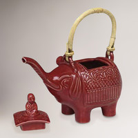 Novica Buddha and the Ruby Elephant Ceramic Teapot - World Market
