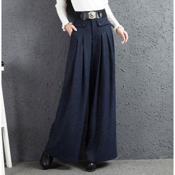 Wool Pleated Pockets Trouser Pants