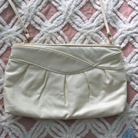 Vintage 1960s White Cream Purse with Long Strap FREE SHIPPING (to USA)