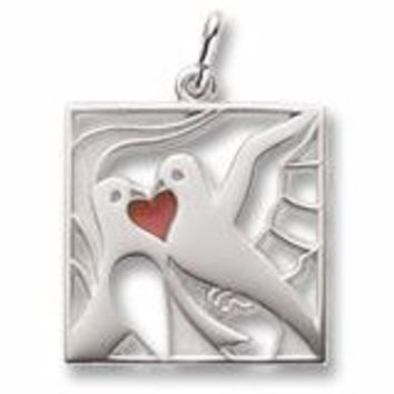 Two Turtle Doves Charm In Sterling Silver