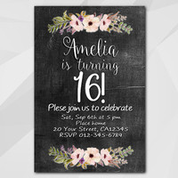 16th Birthday invitation, Watercolor Chalkboard Invitation, 1st 2nd 13th 18th 21st 30th 40th 50th, Custom invitation XA022c