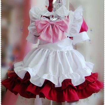 Original Design Cute Girls Japanese Maid Dress Fake Collar Bow Sexy Lolita Cosplay Costume Moe