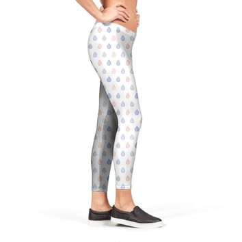Coral pink, serenity blue & lilac grey droplets pattern Leggings by Savousepate from €37.00 | miPic