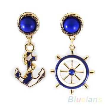 Bluelans Women's Elegant Navy Anchor Helm Style Alloy Long Dangle Drop Jewelry Earrings  00X1