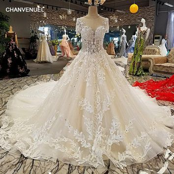 LS00298 vestido de noiva casamento backless short sleeves lace ball gown toyal train beading luxury wedding dresses real photos