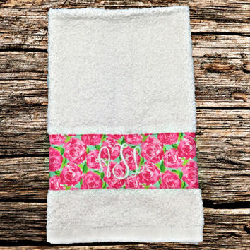 Set of two monogrammed Lilly Pulitzer hand towels