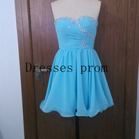 Short sky blue homecoming dress with sequins,cute sweetheart women gowns for holiday party,chic cheap chiffon prom dress under 80.