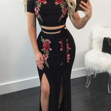 Black Flowers Embroidery Cut Out Off-shoulder Prom Evening Party Two Piece Maxi Dress