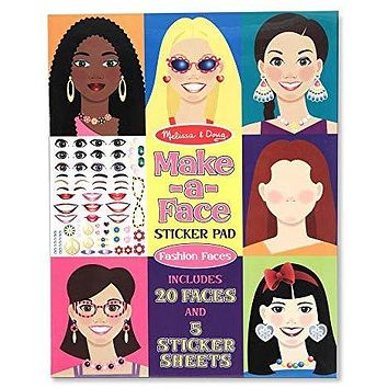 Melissa & Doug Make-a-Face Sticker Pad - Fashion Faces (20 Faces, 5 Sticker Sheets, Great Gift for Girls and Boys - Best for 4, 5, 6, 7, 8 Year Olds and Up): Melissa & Doug: Toys & Games