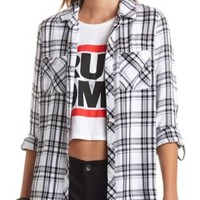 Long Sleeve Plaid Button-Up Top by Charlotte Russe - Black Combo