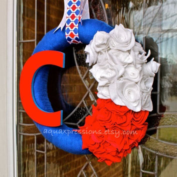 Chicago Cubs Wreath/ Blue, Red, White/  Yarn /Wall Decor /Baseball /MLB /Custom Team Order