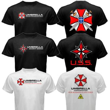 The Resident Evil Umbrella Corp pharmaceuticals Company T-Virus T shirt Men two sides cotton casual gift tee USA Size S-3XL