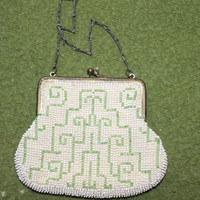 Embroidered Formal Purse Micro Beaded Small and from Germany, Collectible, Fashion, Handbag, Purses, Accessories, Comes w Oval Mirror, NICE