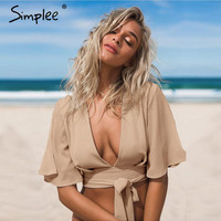 Simplee Striped deep v neck girls 90s boho cropped top Summer sexy women fashion beachwear short crop tops