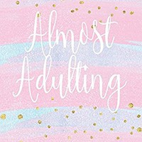 Almost Adulting: Bullet Journal with Stylish Pink Watercolor, Gold Dot Design, Dot Grid Bullet Journal, 8 x 10 Blank Notebook, 1/4 inch Dot Grid with ... Softcover Dotted Paper, Perfect Bound Diary