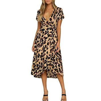 Women Slim Short Sleeve Leopard Dresses Deep V Neck Casual Lace up Plus Size Animal Print Vintage A Line Dress Vestido 2019