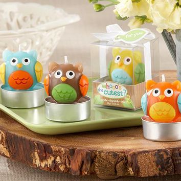 """""""Whooo'S The Cutest"""" Baby Owl Candle (Set Of Four Assorted)"""